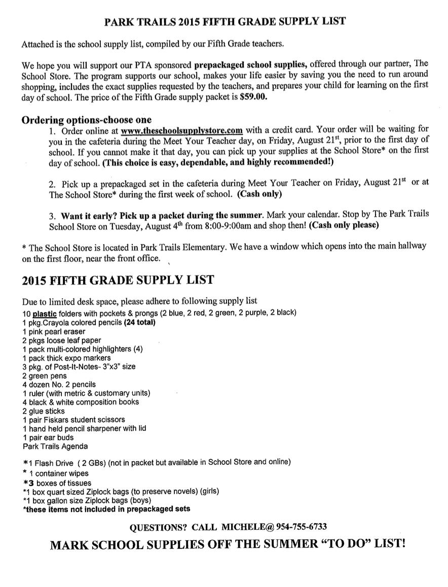 teacher school supplies list