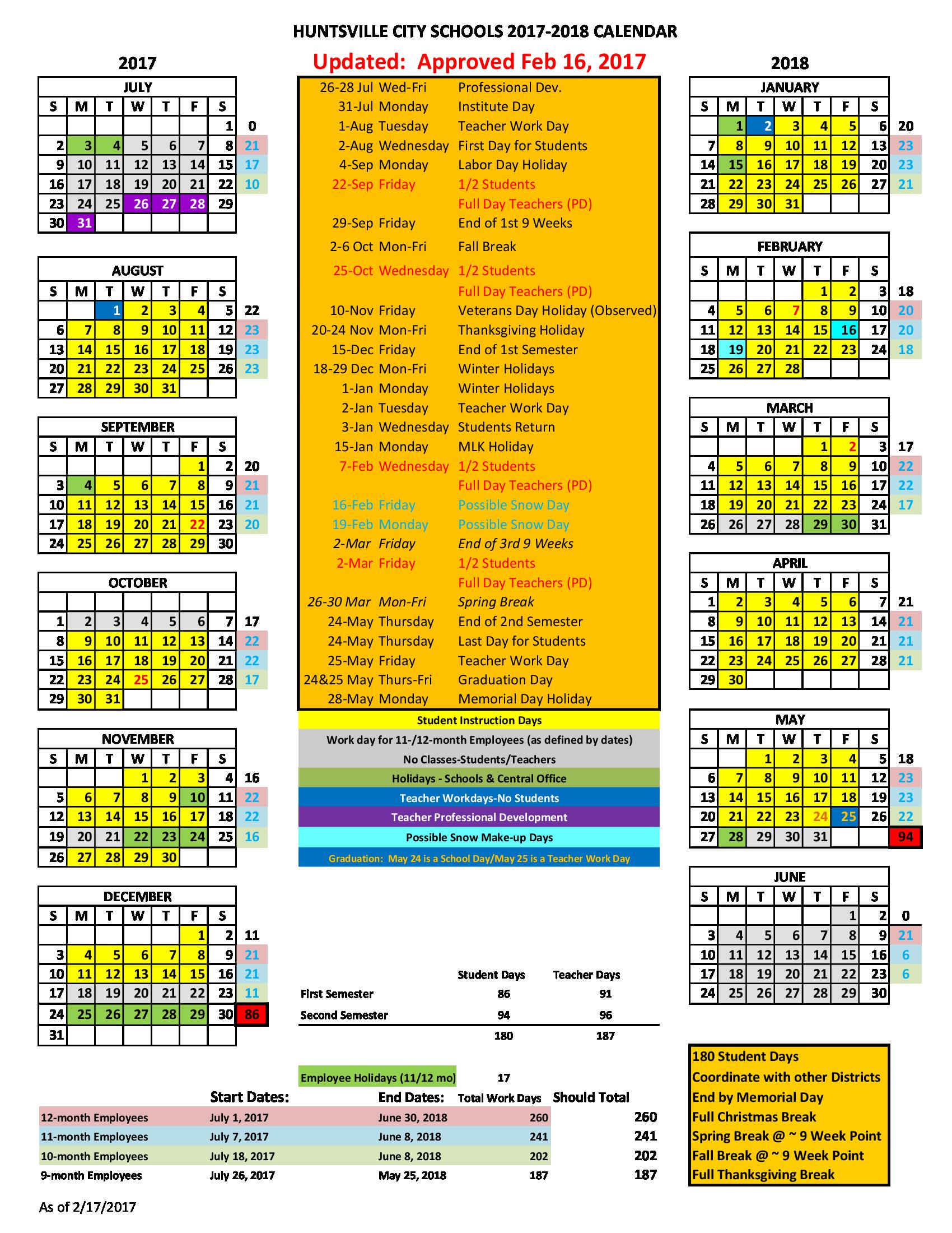 Williams School PK 8 PTA   Huntsville City Schools 2017 18 Calendar