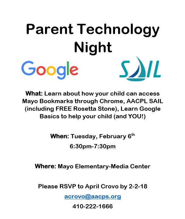 Aacps Calendar 2020.Mayo Elementary School Pto Parent Technology Night
