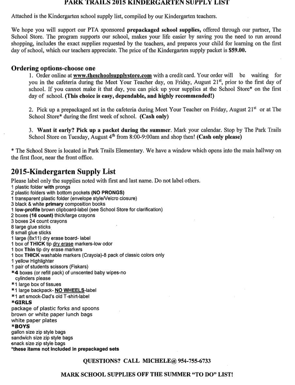 Park Trails Elementary PTA - School Supplies List and Online