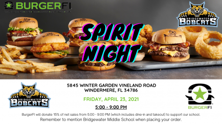 BurgerFi Spirit Night April 23