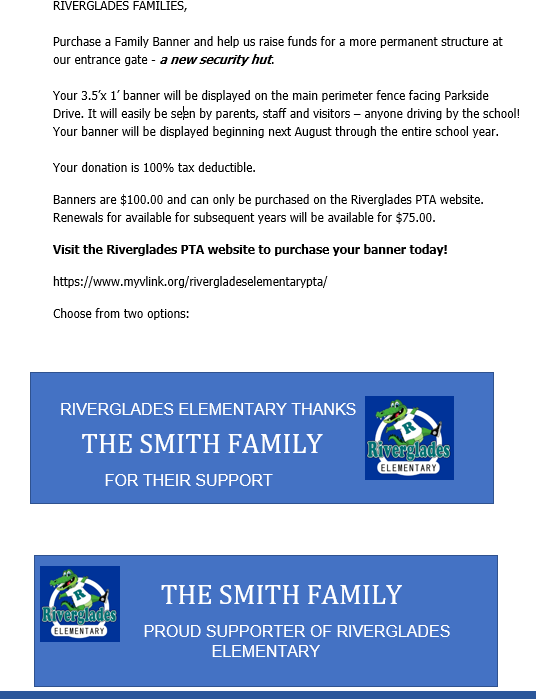 Riverglades Elementary PTA - Family Banner - New Security Hut